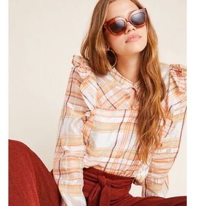 Anthropologie Current Air Polly Ruffle Peasant Top